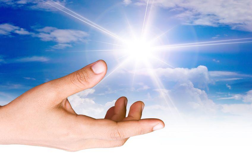 10997489 - hand the sun.